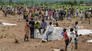 Aid delivery to internally displaced persons fleeing ethnic violence at UNMISS base Wau